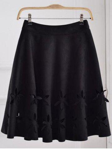 Online Suede Hollow Out A-Line Skirt