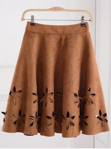New Suede Hollow Out A-Line Skirt