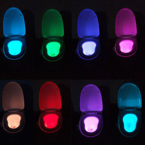 LED Body Induction Bathroom Toilet Eight Colors Change Small Night Light - COLORMIX