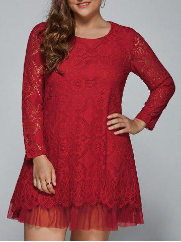 Plus Size Long Sleeve Lace Shift Dress - Red - Xl