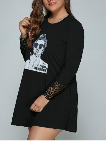 Hot Long Sleeve Beauty Print Plus Size Mini Dress