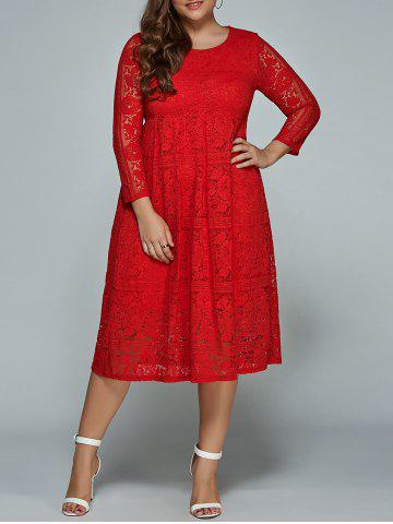 2018 Midi Formal Plus Size Lace Dress In Red 4xl Rosegal Com