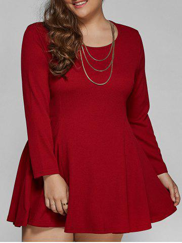 Online Long Sleeve Plus Size Short Skater Tunic Dress DARK RED 4XL