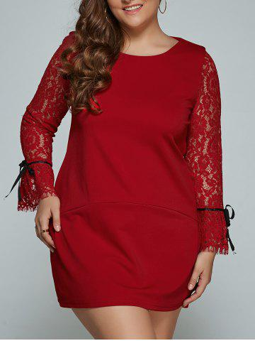Hot Lace Splicing Plus Size Mini Shift Dress
