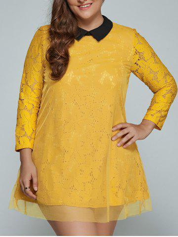 Outfit Plus Size Mini Lace Long Sleeve Dress YELLOW 4XL