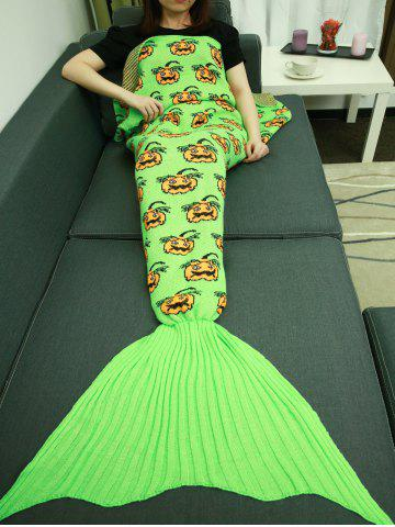 Outfit Halloween Pumpkin Pattern Knitted Wrap Mermaid Tail Blanket