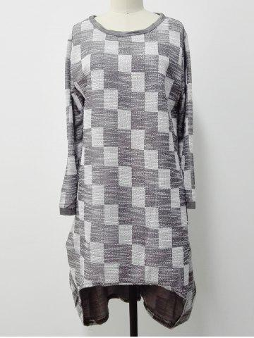 Checkered Print High Low Plus Size Dress - Gray - One Size