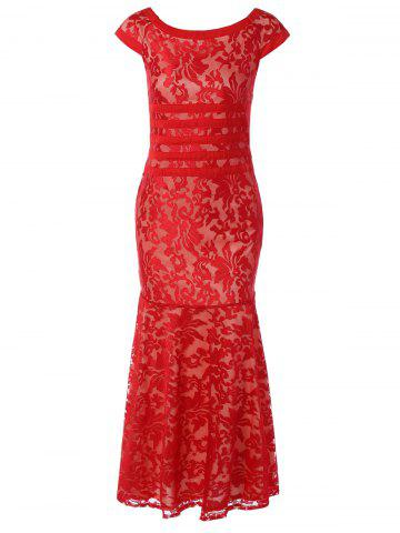 Cheap Tight Lace Fitted Maxi Prom Evening Dress RED 2XL