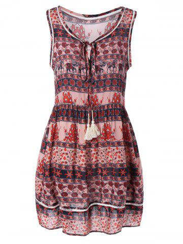 Cheap Sleeveless Printed Mini Flare Dress