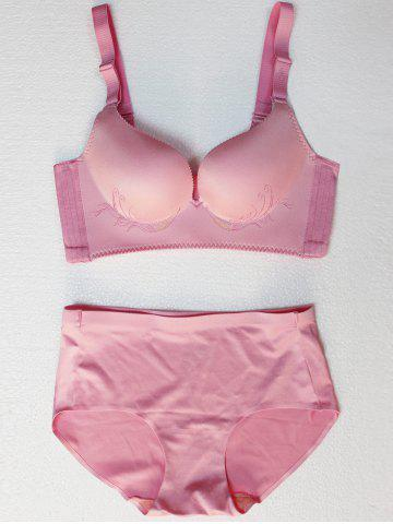 Unique Seamless Embroidered Wire Free Bra Set - 75C PINK Mobile