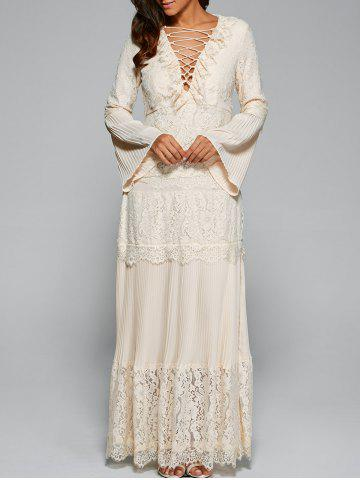 Trendy Bell Sleeve Lace Up Maxi Dress