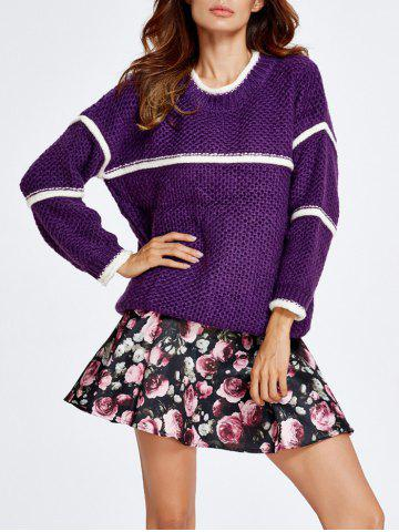 Fancy Chunky Sweater and Rose Skirt Set PURPLE S