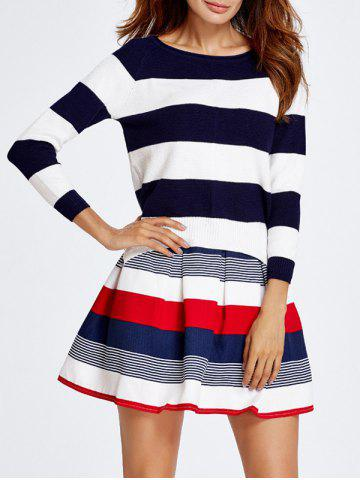Latest Stripe Knitted Sweater and Skirt Set