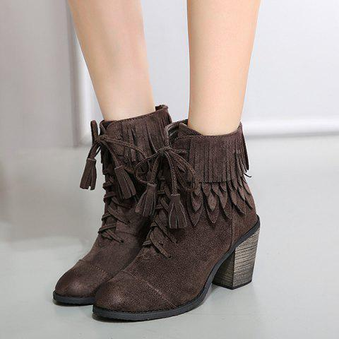 Shops Chunky Heel Suede Fringe Boots