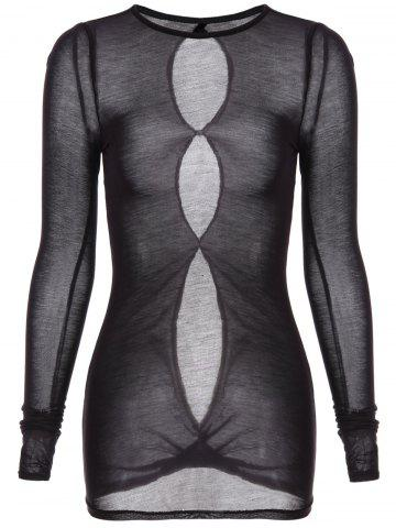 Store Round Neck Long Sleeve See-Through T-Shirt