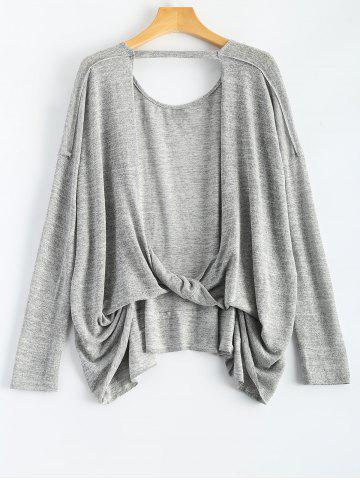 Affordable Long Sleeve Back Cutout Loose Fitting T-Shirt