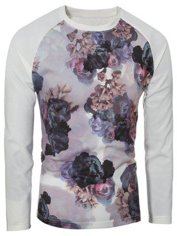 Shop Crew Neck Raglan Sleeve Floral Print T-Shirt COLORMIX XL