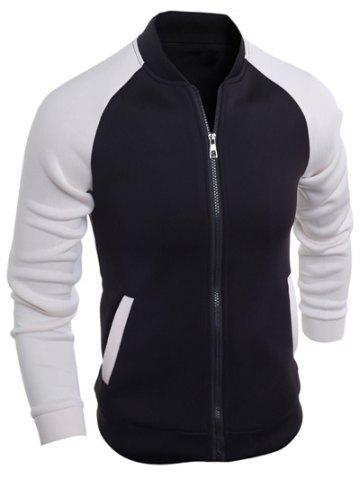 Trendy Stand Collar Raglan Sleeve Color Block Jacket