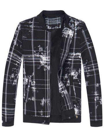 Fashion Stand Collar Tie-Dyed Plaid Jacket