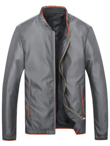 Brief Style Stand Collar Slim-Fit Jacket - LIGHT GRAY XL