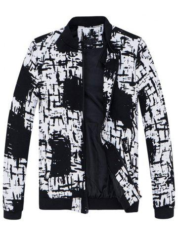 Chic Stand Collar All-Over Abstract Print Jacket WHITE/BLACK M