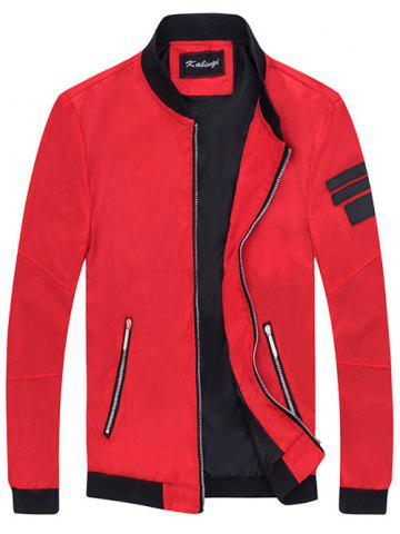 Best Zipper Pocket Patch Design Sleeve Jacket RED XL
