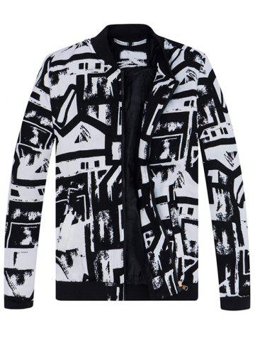 Best Abstract Print Stand Collar Jacket WHITE/BLACK 4XL