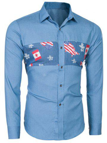 New Slim-Fit Flag Print Long Sleeve Shirt