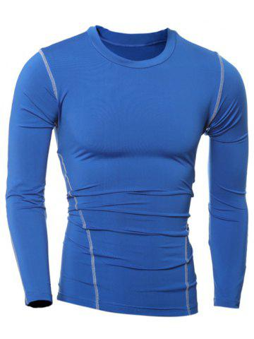 New Slim-Fit Quick-Dry Round Neck Long Sleeve T-Shirt BLUE 2XL