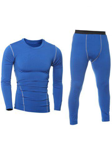 Discount Quick-Dry Long Sleeve T-Shirt + Skinny Gym Pants Twinset BLUE 2XL