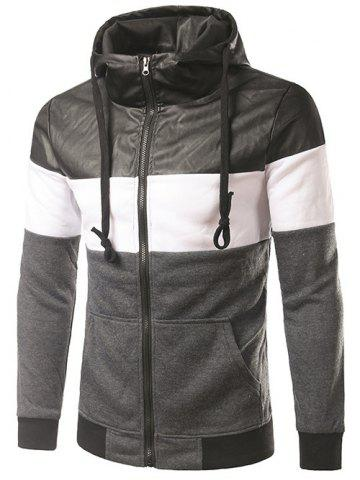 Latest PU-Leather Spliced Hooded Color Block Zip-Up Hoodie DEEP GRAY 2XL