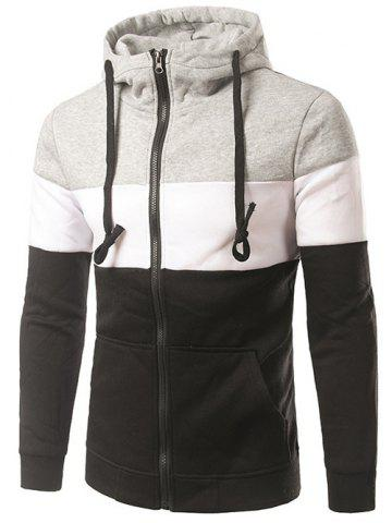 Cheap Spliced Design Hooded Color Block Zip-Up Hoodie BLACK 2XL