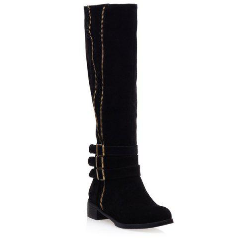Shop Suede Zip Buckles Knee-High Boots