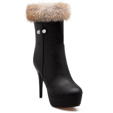 Platform Faux Fur High Heel Boots - BLACK 39