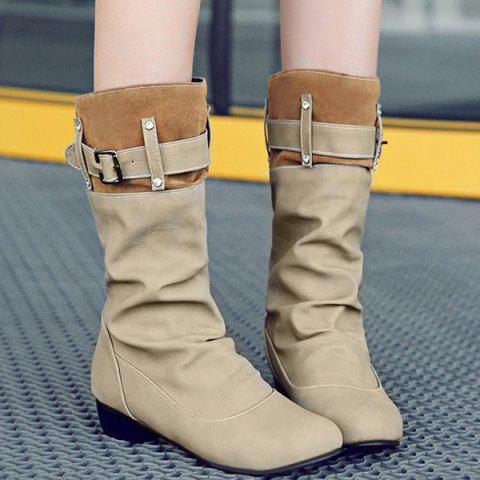 Sale Buckle Rhinestone Ruched Mid-Calf Boots