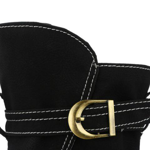 Buy PU Leather Stitching Buckle Straps Mid-Heel Boot - 37 BLACK Mobile