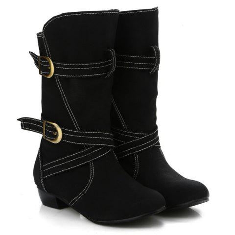 Fashion PU Leather Stitching Buckle Straps Mid-Heel Boot - 37 BLACK Mobile