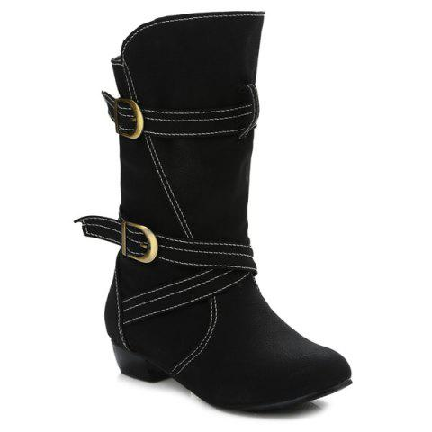 Buy PU Leather Stitching Buckle Straps Mid-Heel Boot