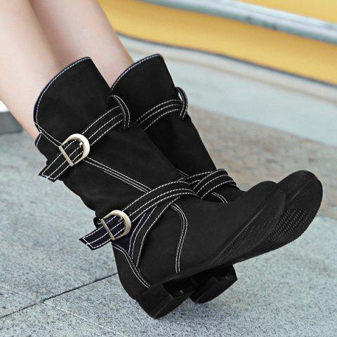 Unique PU Leather Stitching Buckle Straps Mid-Heel Boot - 37 BLACK Mobile