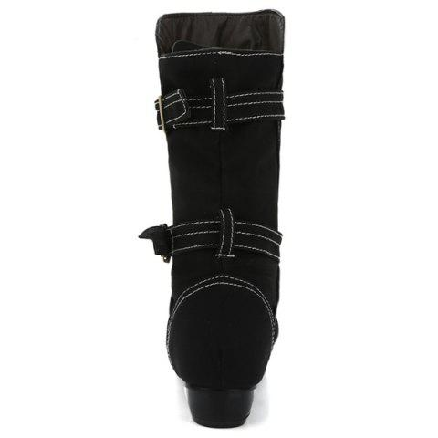 Sale PU Leather Stitching Buckle Straps Mid-Heel Boot - 37 BLACK Mobile