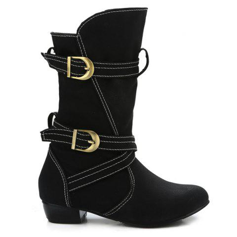Cheap PU Leather Stitching Buckle Straps Mid-Heel Boot - 37 BLACK Mobile