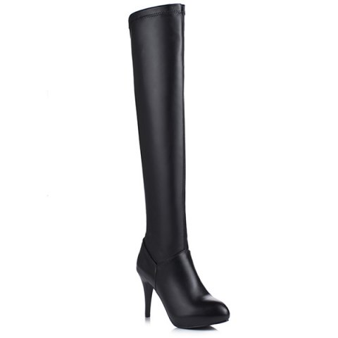 Store Stiletto Heel PU Leather Thigh Boots BLACK 37