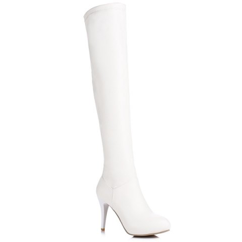 Sale Stiletto Heel PU Leather Thigh Boots - 39 WHITE Mobile