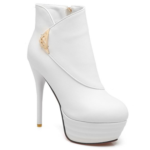Trendy Metal Stiletto Heel Platform Ankle Boots WHITE 40
