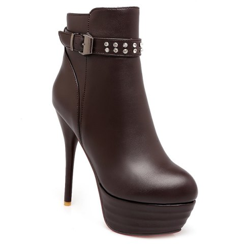 Discount Buckle Rhinestone High Heel Ankle Boots