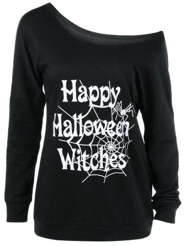 Hot Skew Collar Happy Halloween Witches T-Shirt BLACK S