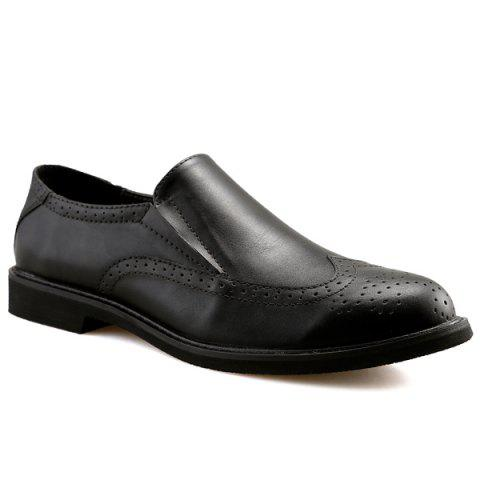 Chic Engraved Slip On Shoes - 42 BLACK Mobile