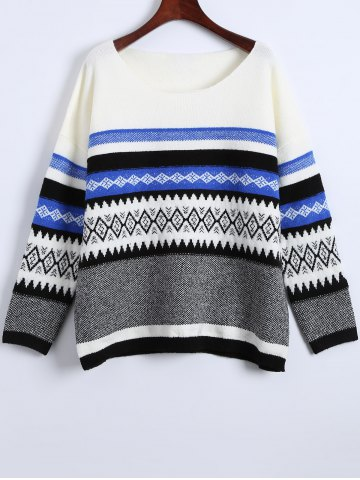 Store Cute Round Neck Color Block Geometric Pattern Sweater