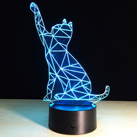 Fancy Beckon Cat Shape Touch Colorful Night Light TRANSPARENT