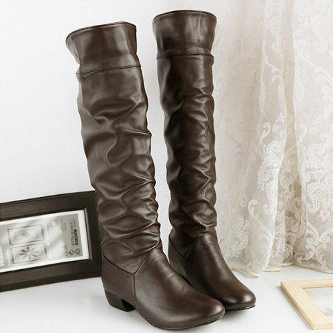Ruched Low Heel Fold Over Knee High Boots - BROWN 40